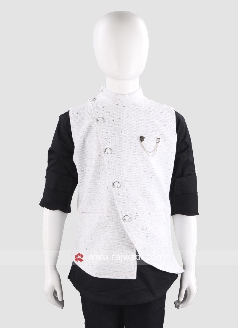 Classy White Waist Coat For Boys