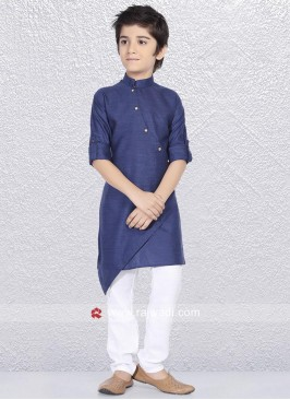 Close Neck Blue Kurta Pajama