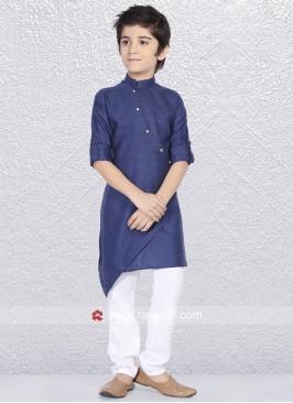 Close Neck Blue Kurta Pajama