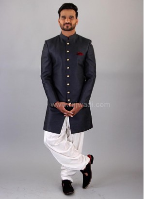 Close Neck Black Nawabi Indo Western