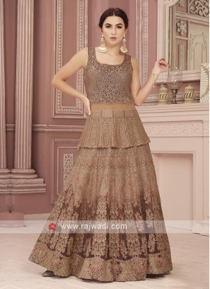 Coffee and Brown Color Anarkali Suit