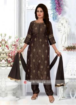 Coffee Color Cotton Silk Trouser Suit