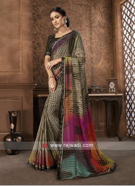Coffee Color Plain Printed Saree