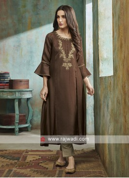 Shagufta Coffee Color Salwar Suit