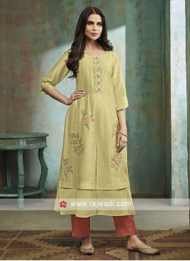 Shagufta Pista green Color Trouser Salwar Suit