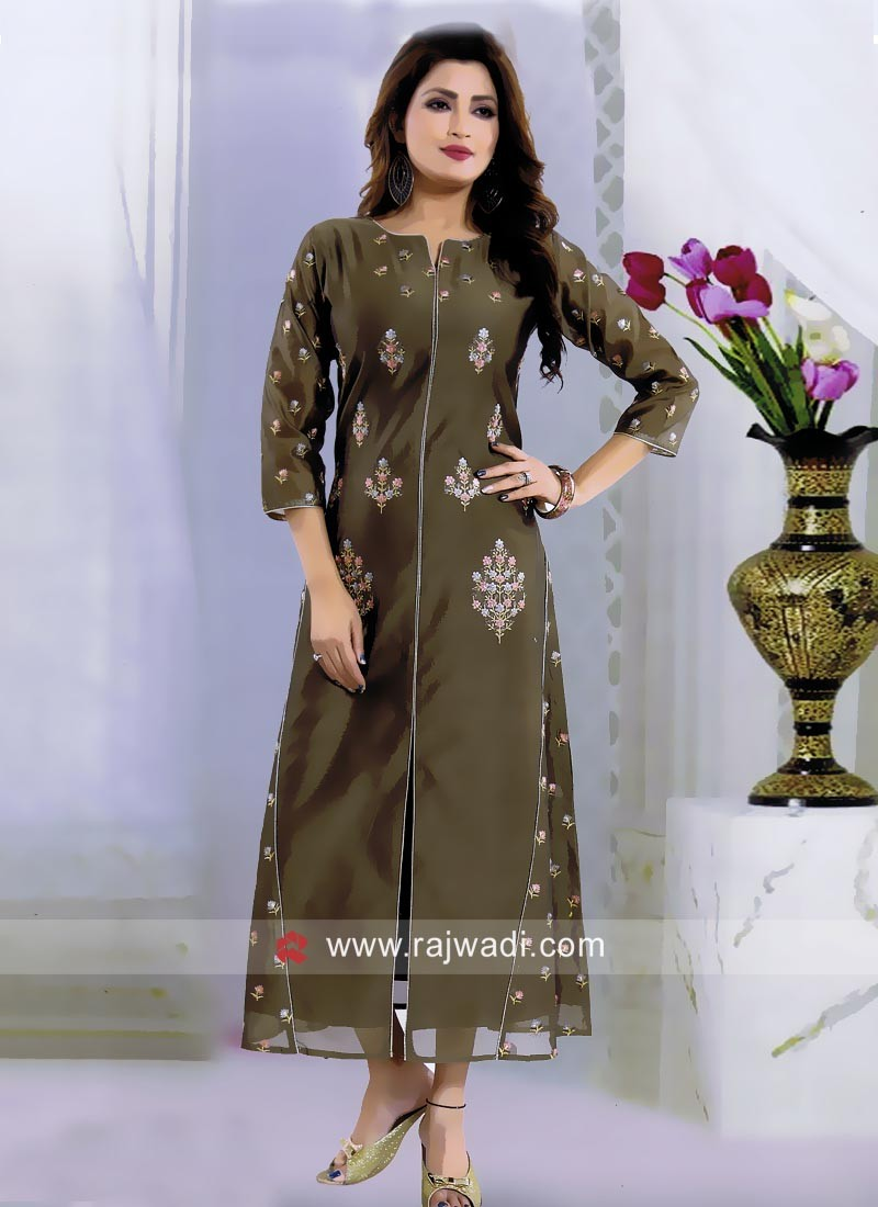Coffee Thread Work Kurti