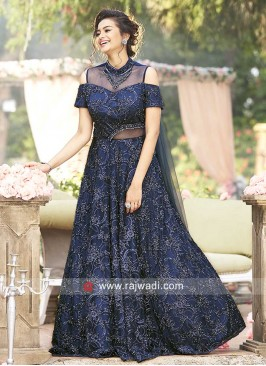 Cold Shoulder Salli Work Gown in Navy Blue