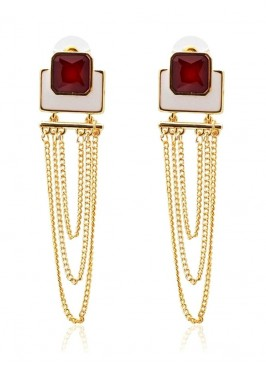 Color Rush Red Multilayered Dangler Earrings