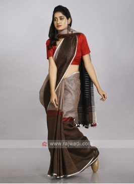 Combination of cream, red and brown casual saree