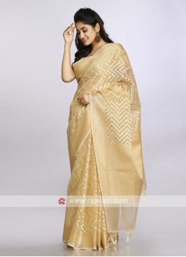 gold soft cotton casual saree