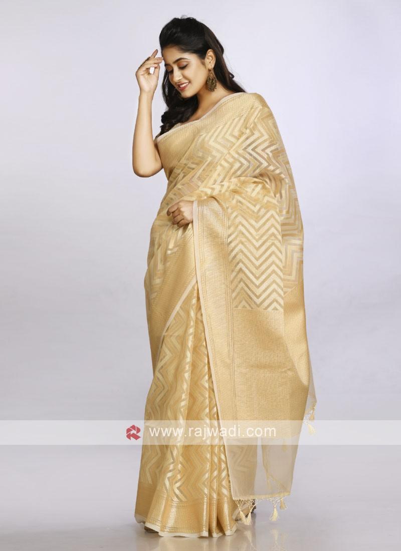 gold soft cotton casual saree