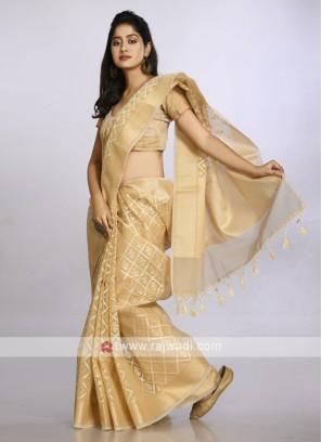 golden colour soft cotton casual saree