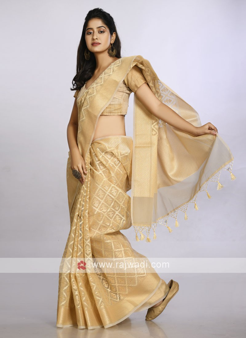 golden colour soft cotton casual saree