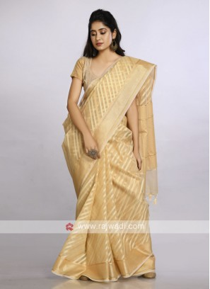 Golden soft cotton casual saree
