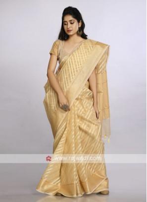 Golden soft cotton casual saree