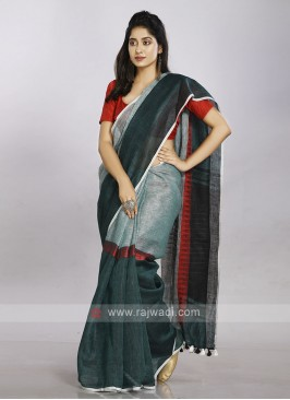 Combination of light blue, red and green casual saree
