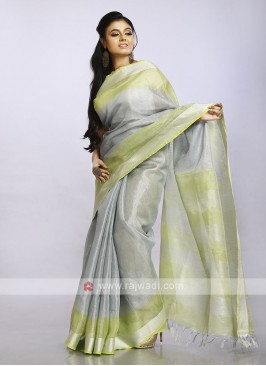 Combination of silver and light green plain casual saree