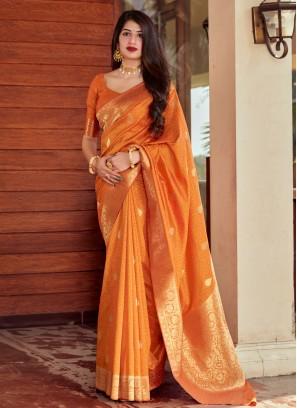 Compelling Woven Orange Designer Traditional Saree