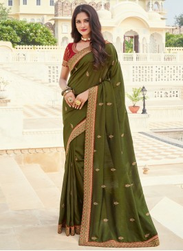 Competent Green Engagement Designer Saree