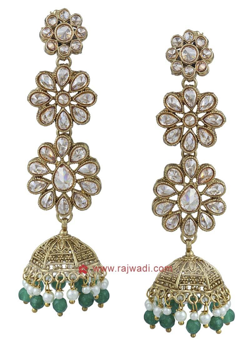 Copper Kundan Work Jhumka Earrings
