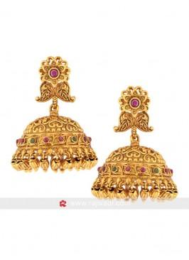 Copper Rubby Stone Jhumki Earrings