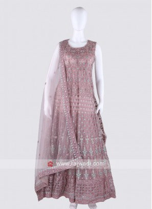 Coral Color Anarkali Suit with dupatta