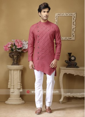 Coral Color Pathani For Mens
