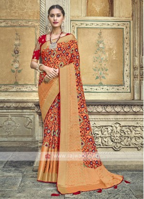Coral Color Traditional Saree