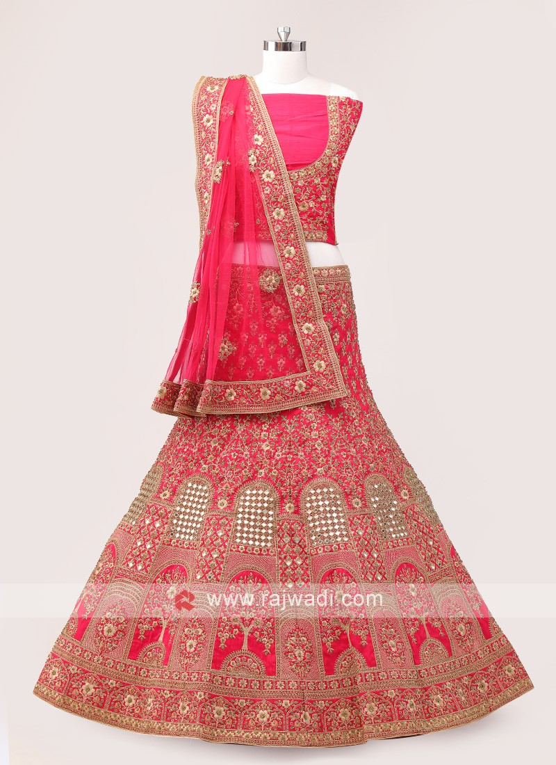 Coral Silk Bridal Lehenga Choli