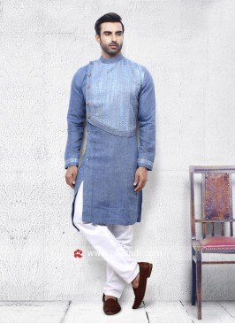 Corn Flower Blue Linen Pathani Set