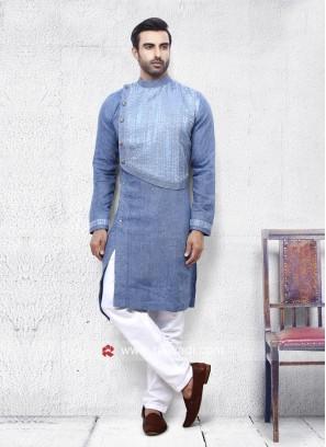 Corn Flower Blue Linen Pathani Set