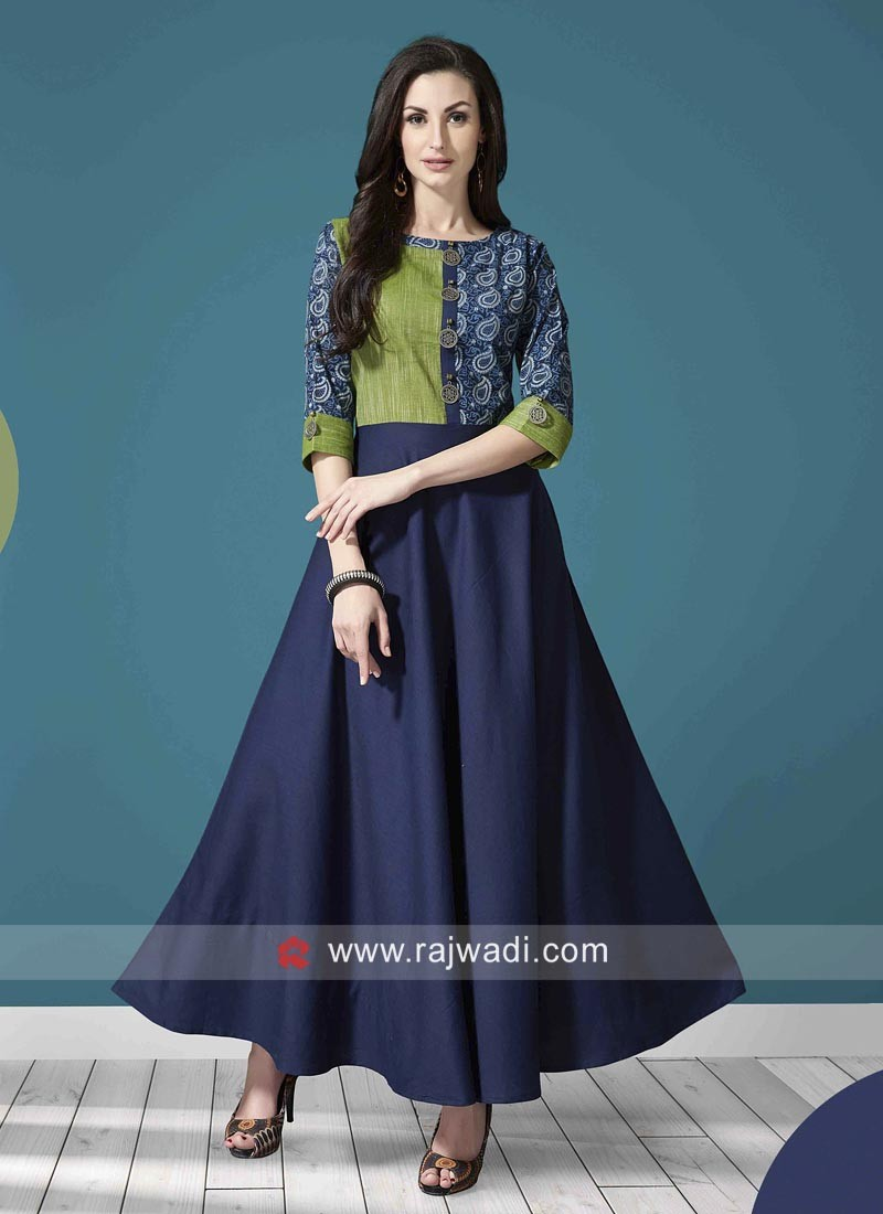 Cotton Anarkali Printed Kurti