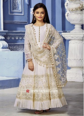 Cotton and Net Wedding Anarkali for Girls