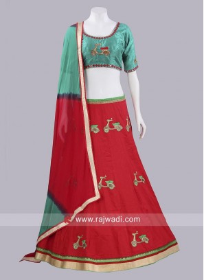 Cotton and Raw Silk Chaniya Choli