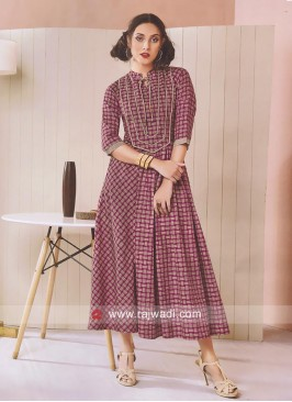 Cotton Ankle Length Kurti with Checks Print