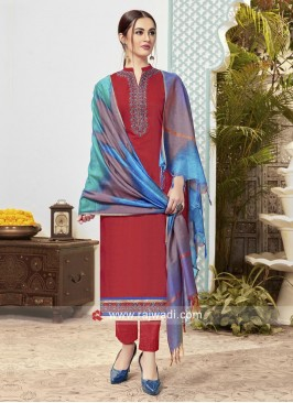 Cotton Casual Trouser Suit with Dupatta