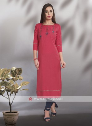 Cotton Casual Wear Straight Fit Kurti
