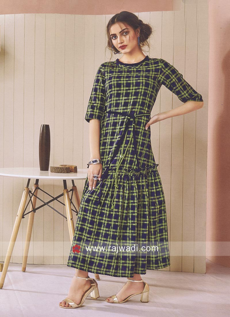 Cotton Checks Print Kurti