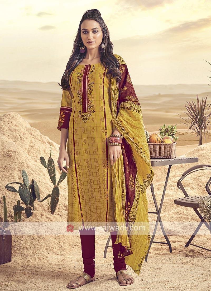 Shagufta Cotton Churidar Salwar Suit In Mustard Yellow