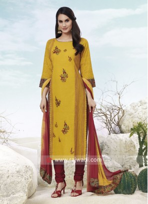 Shagufta Cotton Churidar Salwar Suit in Yellow
