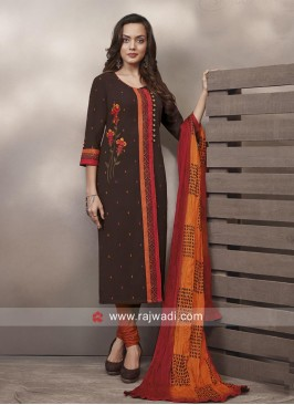 Cotton Churidar Suit with Dupatta