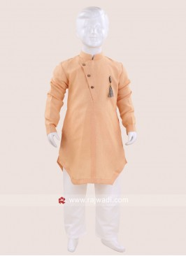 Cotton Light Peach Color Kurta Pajama