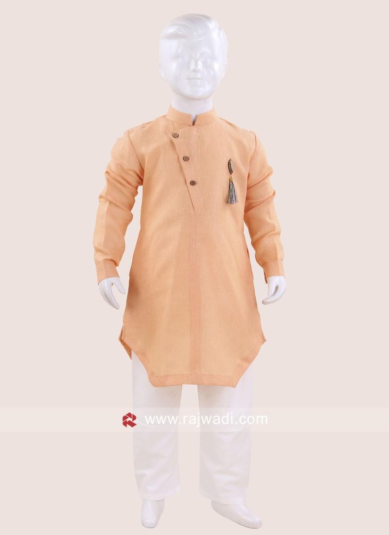 Cotton Light Peach Color Kurta Pajama