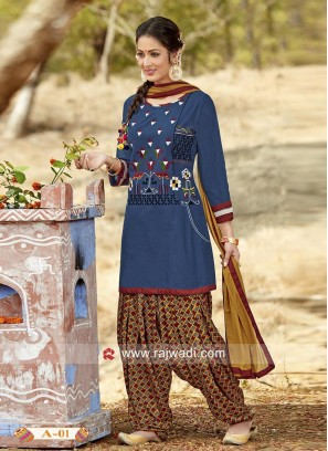 Cotton Dark Blue Patiala Salwar Kameez