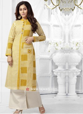 Cotton Designer Palazzo Suit with Pocket