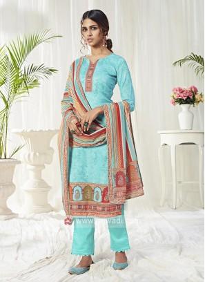 Cotton Dress Material In Aqua Blue