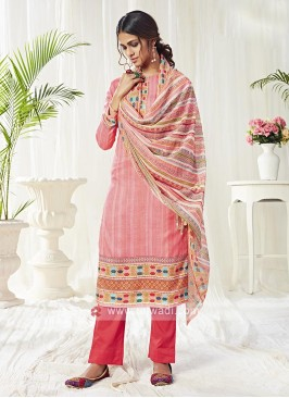 Cotton Dress Material In Pink