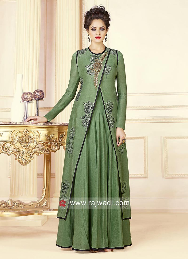 Cotton Embroidered Stitched Gown