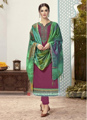Cotton Embroidered Trouser Suit