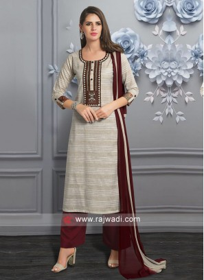 Cotton Fabric Beige Palazzo Suit